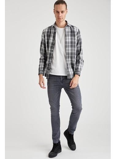 DeFacto Slim Fit Uzun Kollu Ekose Oduncu Gömlek Gri